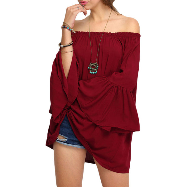 Off-The-Shoulder Long Flare Sleeve Blouses - Chic128