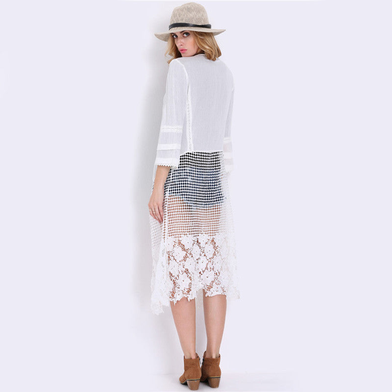 Open Front Sheer White Three Quarter Length Sleeve Sheer Crochet - Chic128