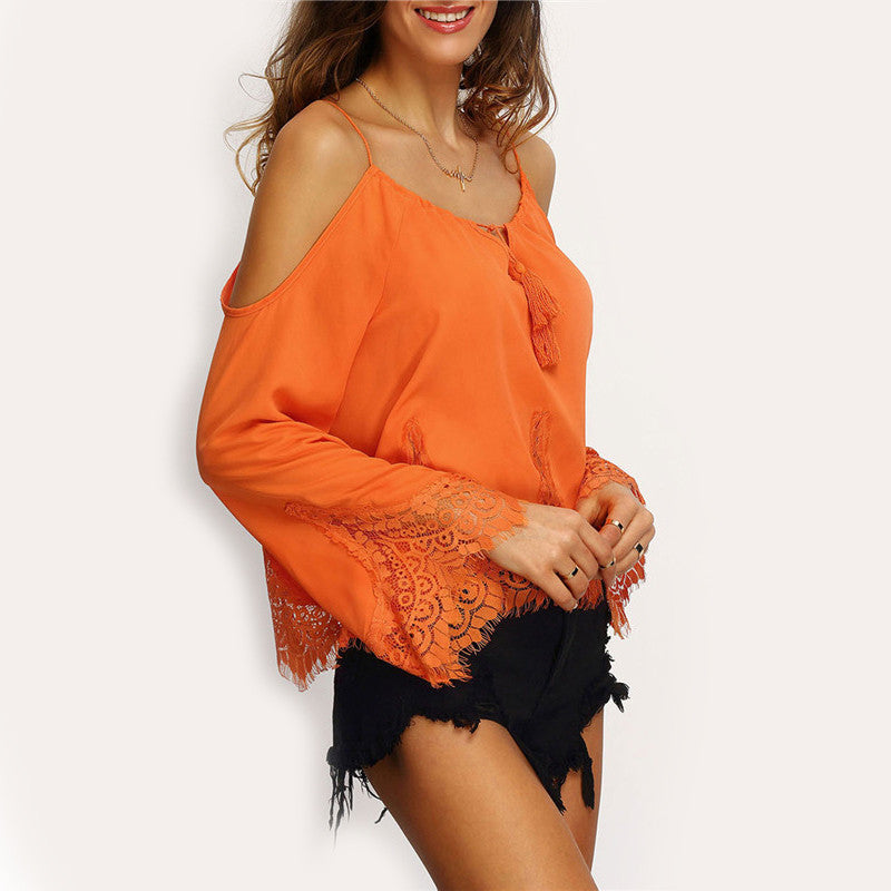 Orange Cold Shoulder Long Flare Sleeve Lace Trim Beach Blouse - Chic128