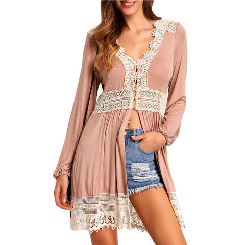 Pink V Neck Long Sleeve Lace Buttons High Quality Blouse - Chic128