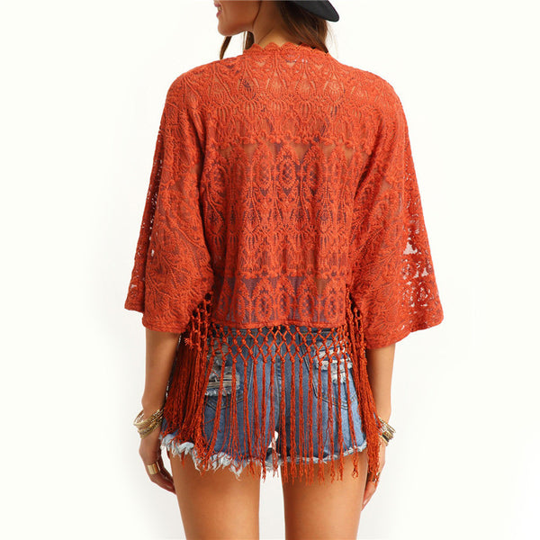 Plain Orange Summer Beach Loose Casual Long Sleeve Tops - Chic128