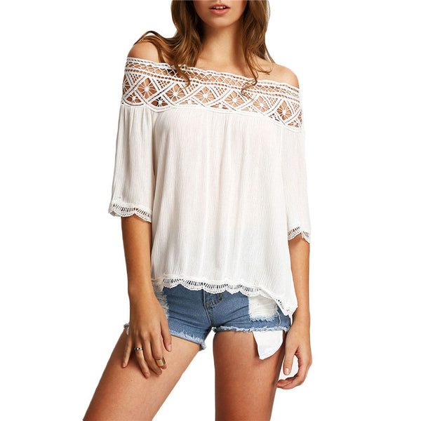 Plain Three Quarter Sleeve Off The Shoulder Casual Lace Crop Blouse - Chic128