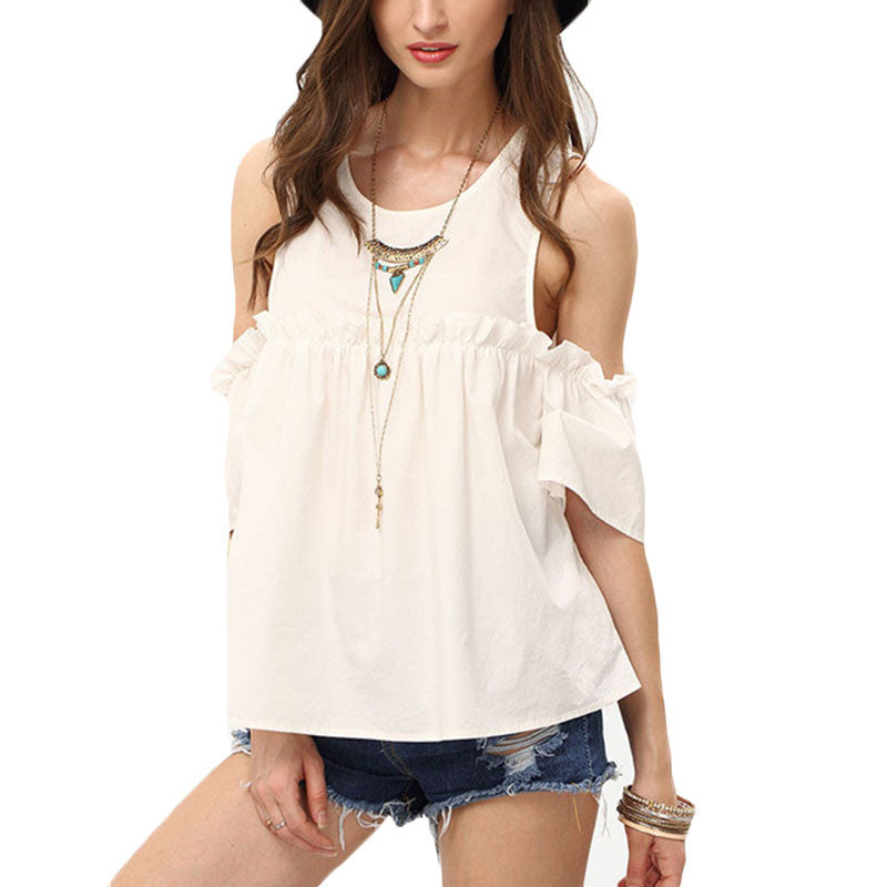 Plain White Cold Shoulder Short Sleeve Ruffle Details Casual Blouse - Chic128