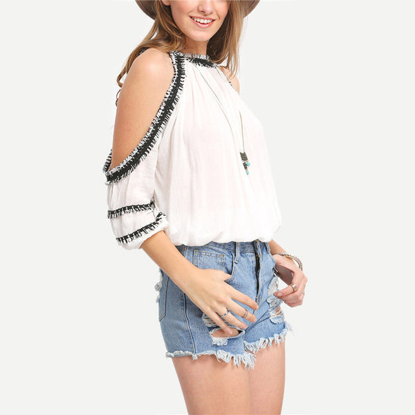 Round Neck Short Sleeve White Blouse - Chic128