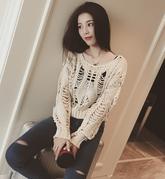 Long-Sleeved Round Neck Hole Knit Sweaters - Chic128