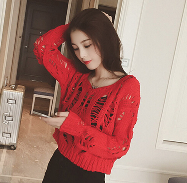 Long-Sleeved Round Neck Hole Knit Sweaters