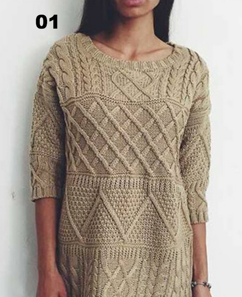 Solid Women Sweater Half Sleeve Long Knitted Pullovers - Chic128