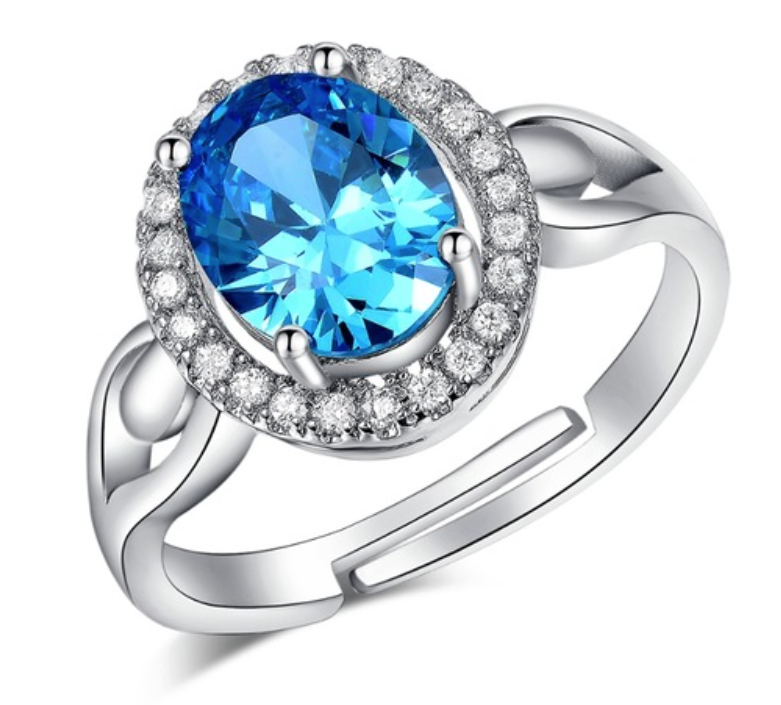 Crystal Sapphire Jewelry Open Wedding Rings - Chic128