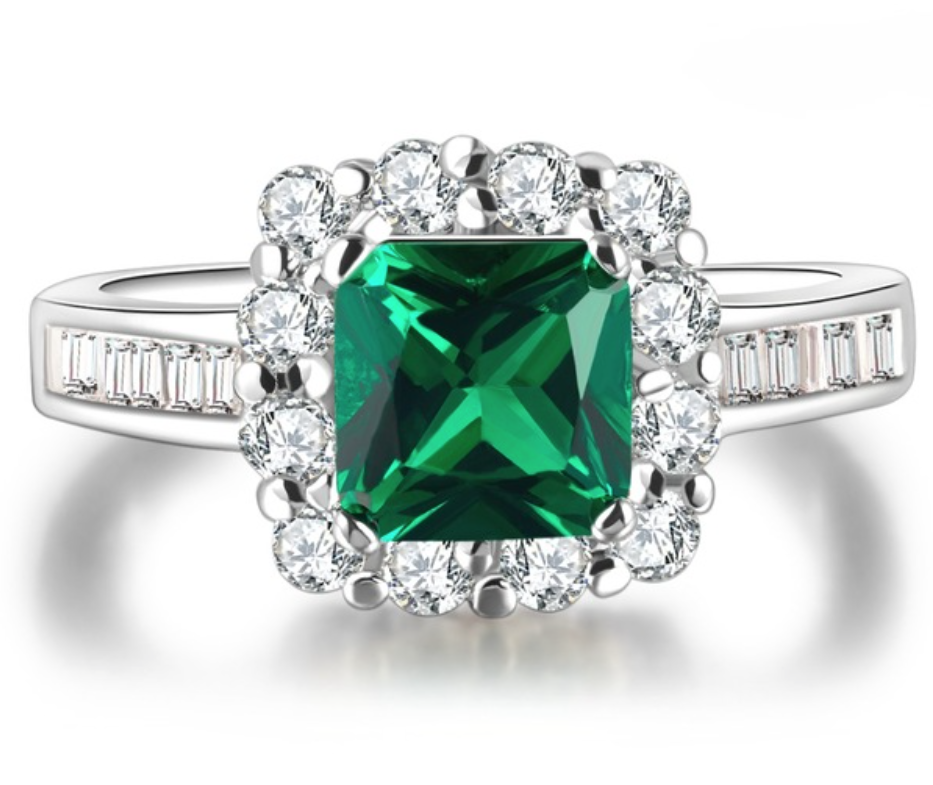 Green Crystal Beryl Jewelry Wedding Rings For Women - Chic128