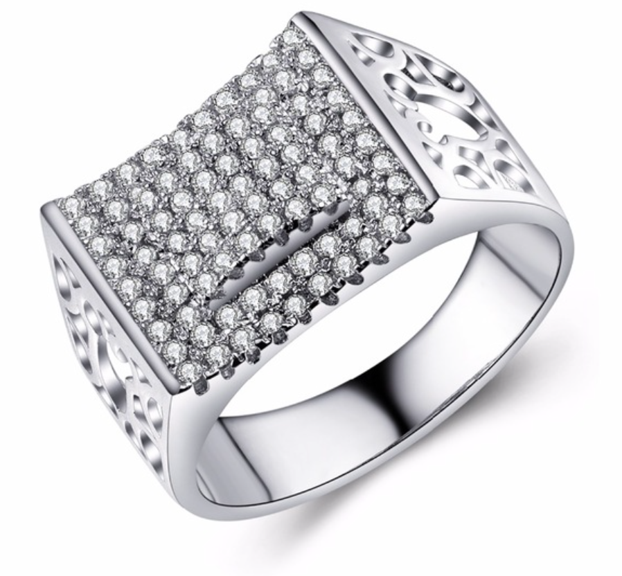 Luxury Silver Plated Square Wedding Rings For Women - Chic128