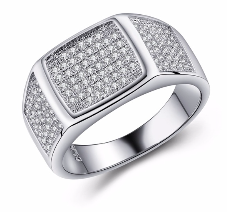 Silver Plated Square Wedding Rings For Women - Chic128