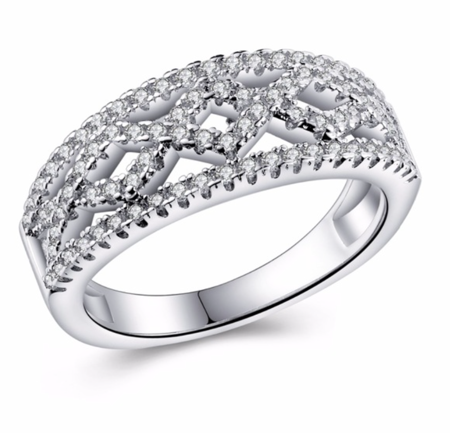 Silver Plated Hollow Bague Crystal Jewelry Wedding Rings