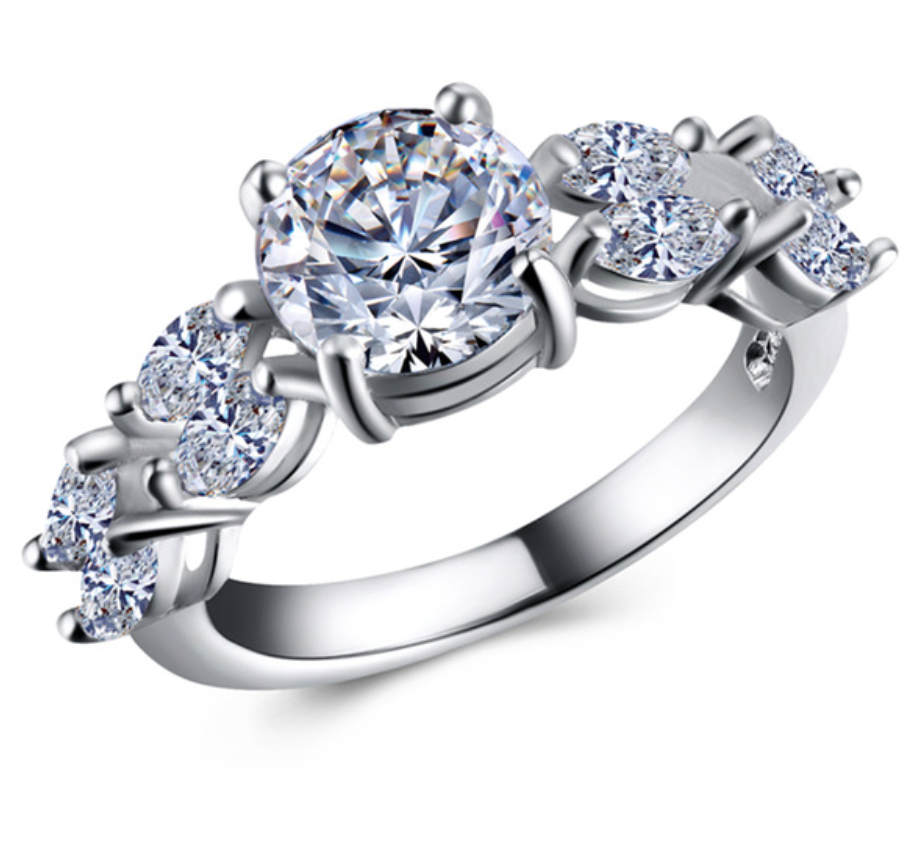 Genuine Pure Solid Diamond Engagement Rings - Chic128