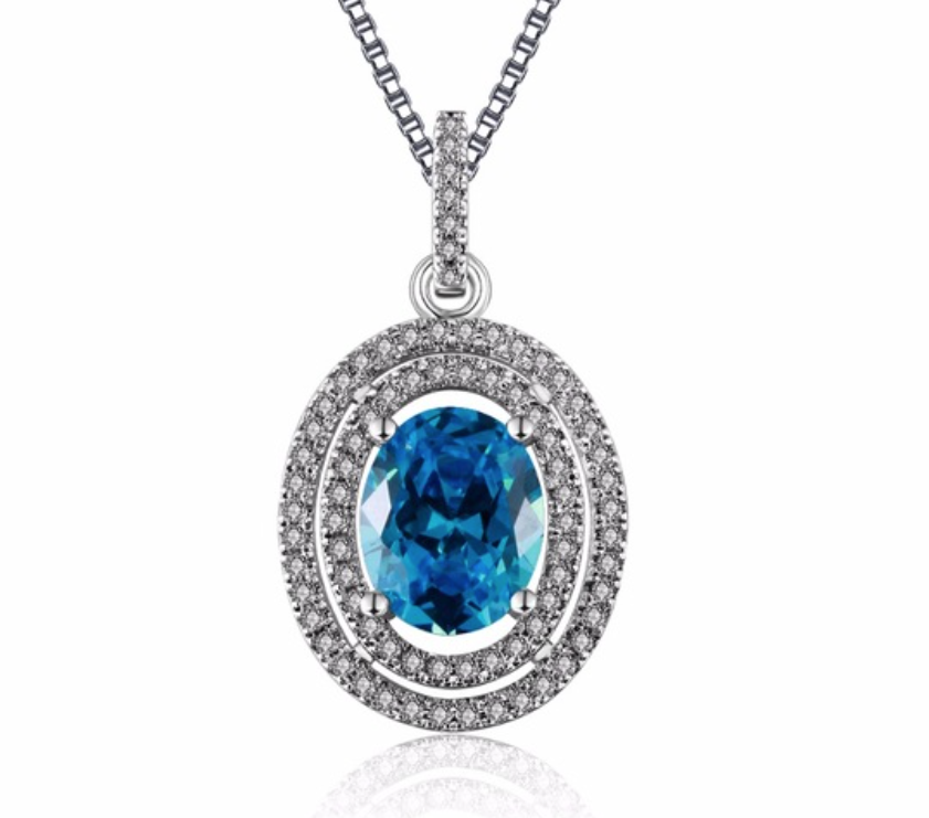 Oval Sapphire Jewelry 925 Silver Filled Vintage Necklaces & Pendants - Chic128