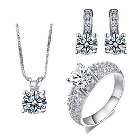 Silver Plated Bridal Jewelry Sets