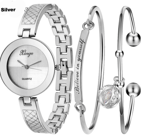 Luxury Women Watches Oval Gold Silver Bracelet - Chic128