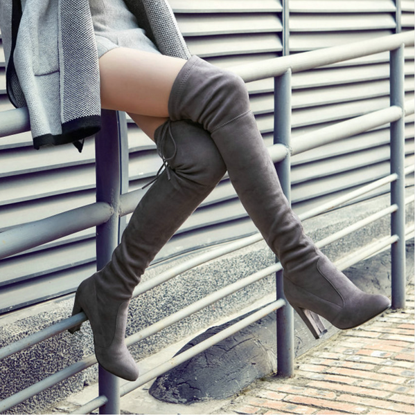 Sexy Fashion Stretch Faux Suede Over the Knee Boots - Chic128