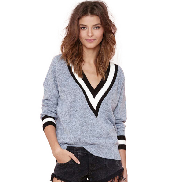 Women Long Sleeve Striped V-Neck Sweaters - Chic128