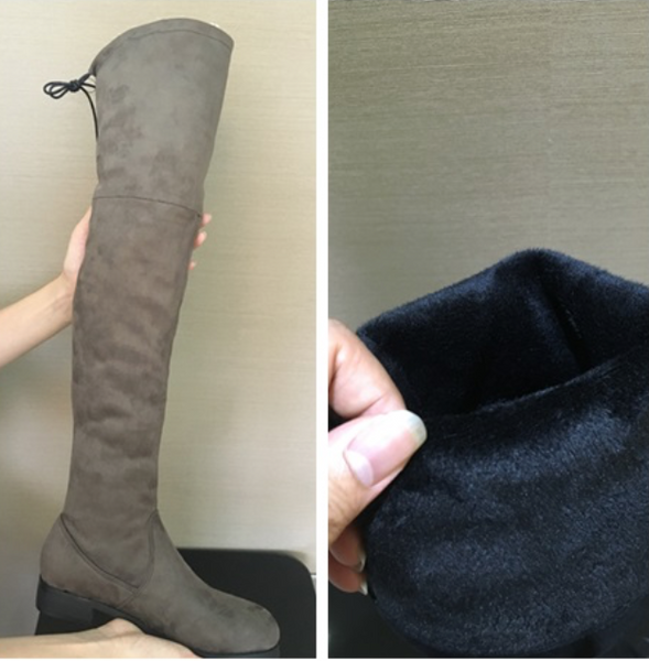 Drawstring Tie Riding Suede Over-The-Knee Boots