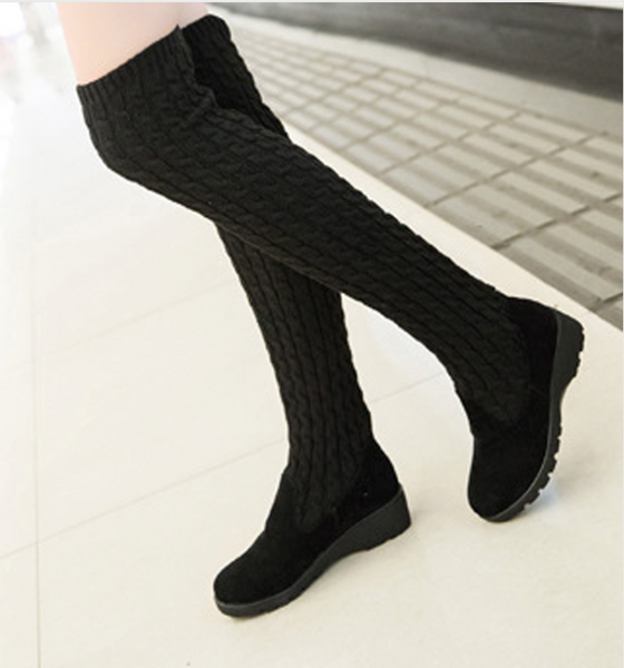 Women Over The Knee Thigh High Knitting wool Fashion Flat Boots - Chic128