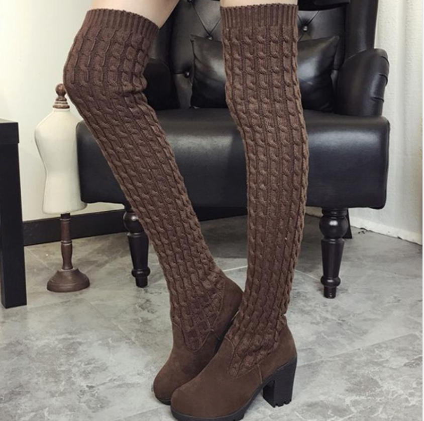 Women Over The Knee Thigh High Knitting wool Fashion Flat Boots