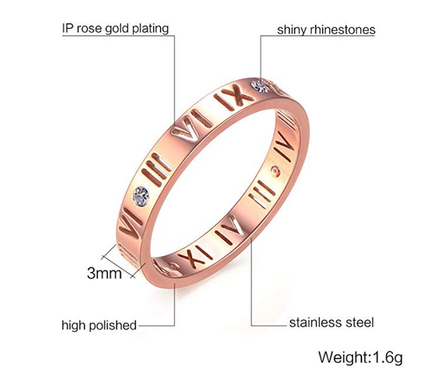 Stainless Steel CZ Roman Numeral Ring Women Girls,Rose Gold Plated/Silver Sale - Chic128