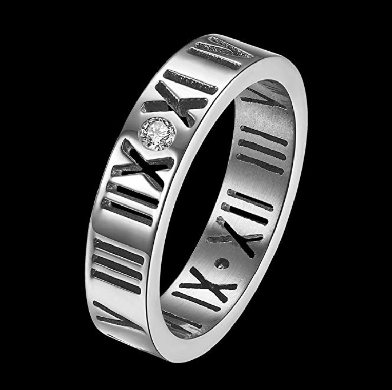 Roman Numerals Rings Silver for Women Stainless Steel Size 4-11 With Gift Box - Chic128