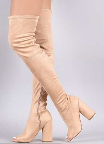PEEP TOE ROUND HEELED OVER-THE-KNEE SUEDE BOOTS - Chic128