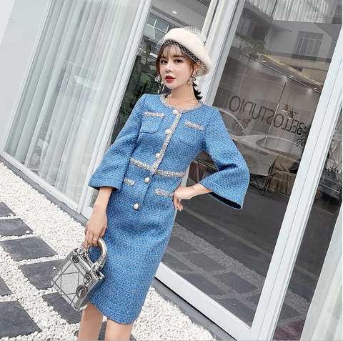 Luxury Designer Blue Weave Tweed Dress Winter Office Women Elegant Pearls Single Breasted Straight Split Tweed Woolen Dress - Chic128
