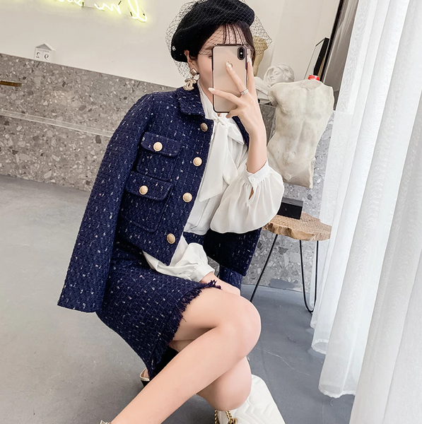 Navy Blue Tweed Jacket+Pencil Skirt Suit Winter Women's Short Jacket Coat Small Fragrant Golden Button Ladies Wool Two Piece Set - Chic128
