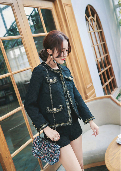hot style women suit wool cashmere autumn winter female long sleeve jacket outwear temperament shorts sets - Chic128