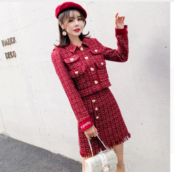 Women's Shiny Gold Tweed Wool Jacket Sleeveless Dress Twinset Ladies Small Suit Woolen Tassel Dresses Sets - Chic128