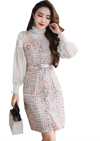 New Early Spring Women's Chiffon Sleeves Nail bead Dress Handmade Series Lady Sweet Colorful Wind Tweed Dress - Chic128