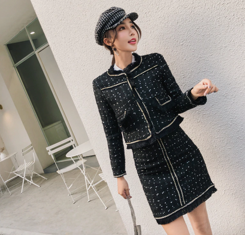 New Fall Winter Brand Designer Runway Suit Women's Black Tassel Jacket Tweed Skirt Woolen Blends Christmas Two pieces Set - Chic128