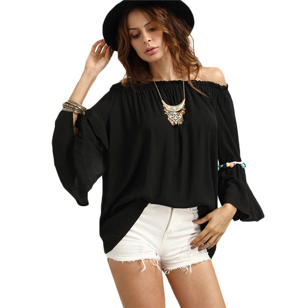 Sexy Beach Casual Off The Shoulder Tops - Chic128