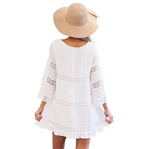 Sexy Hollow 3/4 Sleeve Lace Boho Beach Dress - Chic128