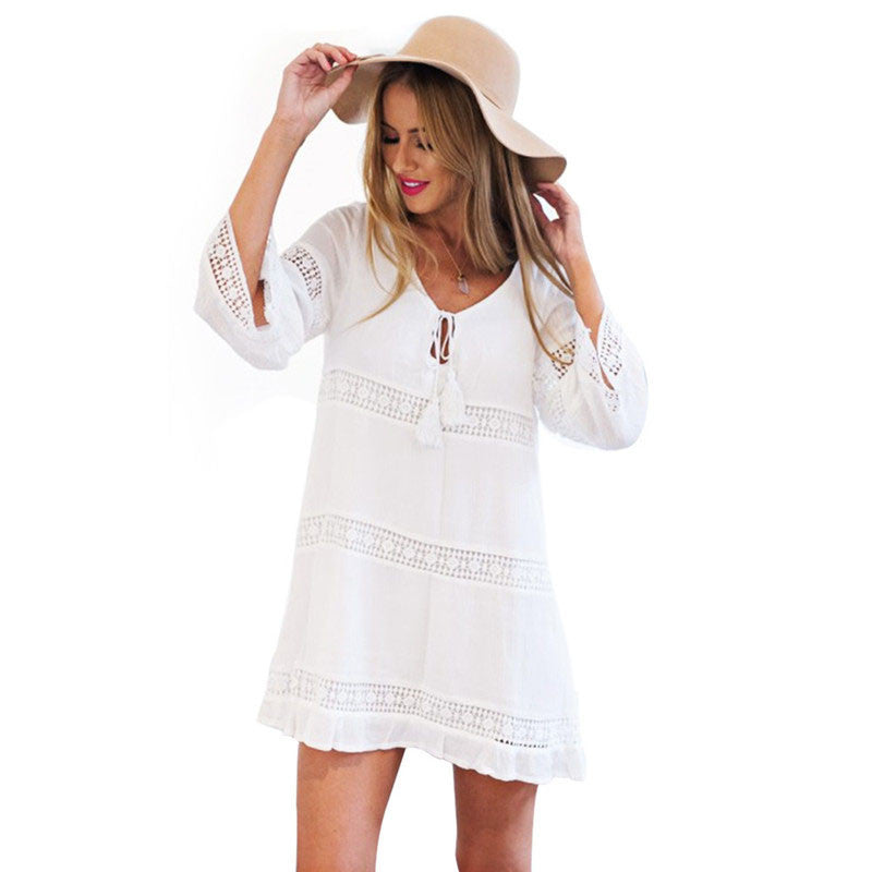 Sexy Hollow 3/4 Sleeve Lace Boho Beach Dress