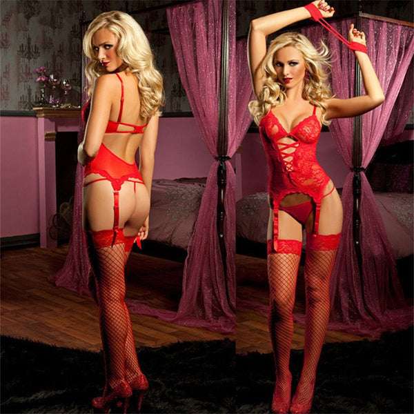 Sexy Lingerie Garter Sets Black/Red Stripper - Chic128