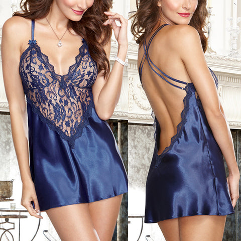 Sexy Low Back Chemise Robes Nightdress Nightie - Chic128