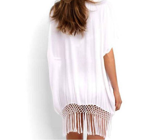 Sexy O neck White kaftan beachwear - Chic128