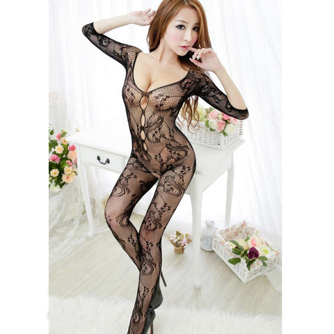 Sexy Women Fishnet Open Crotch Body Stocking Lingerie Dress - Chic128
