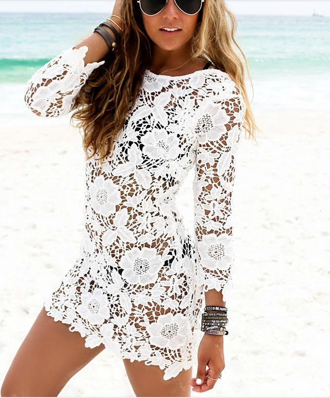 Sexy women lace crochet Beach Cover Up - Chic128