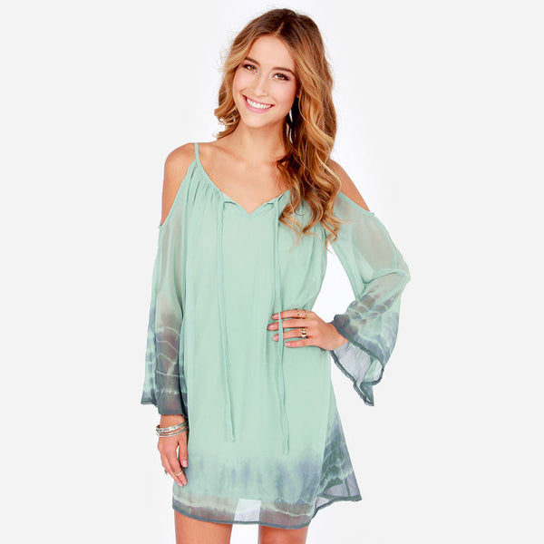 Summer Boho Dress Vintage Long Sleeve Print Chiffon Beach Casual Dress - Chic128