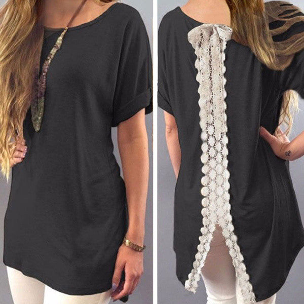 Summer Short Sleeve Tops Back Lace Print - Chic128