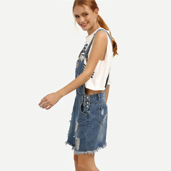 Summer Woman Raw Hem With Pockets Denim Overall Short Dress - Chic128