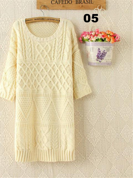 Solid Women Sweater Half Sleeve Long Knitted Pullovers