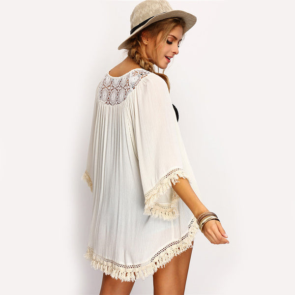 Three Quarter Sleeve Cotton Beige Fringe Lace Insert Casual Kimono - Chic128