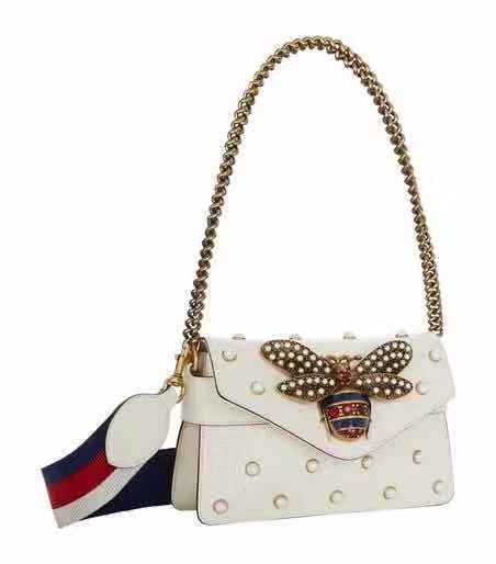 Gucci Women Honeybee Leather Metal Chain Shoulder Bag Satchel Crossbody - Chic128