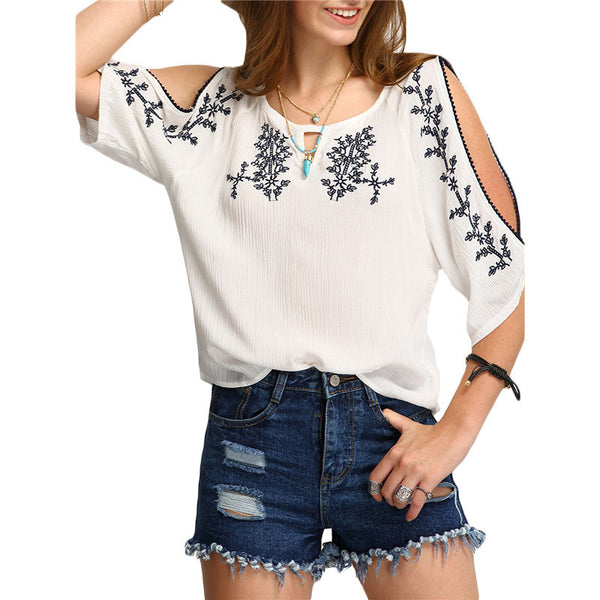 White Embroidery Half Sleeve Round Neck Vintage Blouse
