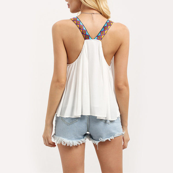 White Fringe Decorated Sleeveless Blouses - Chic128